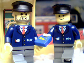 Ticket inspectors at 6399-1 Lego Airport Shuttle Brickford Monorail