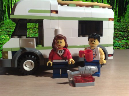 Lego couple with caravan