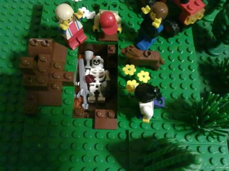 Lego archaeologists discover Roman high-status burial at Brickford.