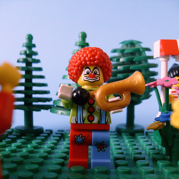 Lego clown arrives in Brickford