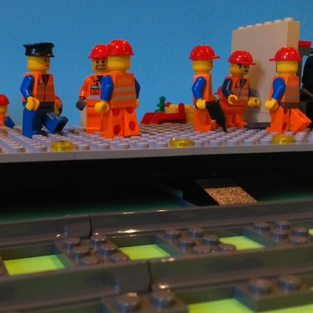 Construction of Brickford's new Train Station lego
